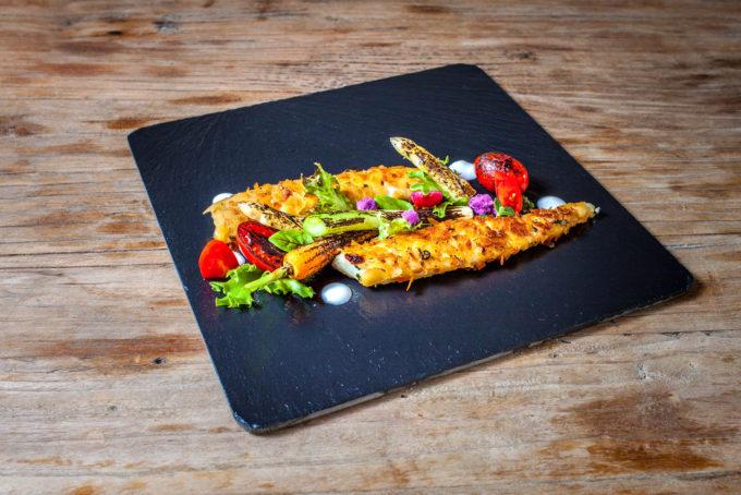 Filetti muggine e ortaggi arrostiti